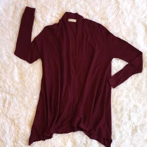 Soft Maroon Ribbed Open Sweater Cardigan, Small